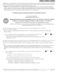 """Form 11168 """"Supplemental Plea Form for Eluding (N.j.s.a. 2c:29-2b) or Theft of a Motor Vehicle or Unlawful Taking of a Motor Vehicle (N.j.s.a. 2c:20-2.1)"""" - New Jersey (English/Spanish)"""