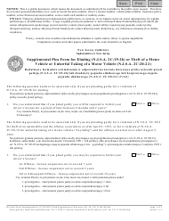 """Form 11168 """"Supplemental Plea Form for Eluding (N.j.s.a. 2c:29-2b) or Theft of a Motor Vehicle or Unlawful Taking of a Motor Vehicle (N.j.s.a. 2c:20-2.1)"""" - New Jersey (English/Polish)"""