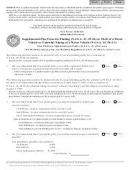 """Form 11168 """"Supplemental Plea Form for Eluding (N.j.s.a. 2c:29-2b) or Theft of a Motor Vehicle or Unlawful Taking of a Motor Vehicle (N.j.s.a. 2c:20-2.1)"""" - New Jersey (English/Haitian Creole)"""