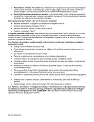 """Formulario LS223S """"Formulario De Queja Sobre Normas Laborales"""" - New York (Spanish), Page 2"""