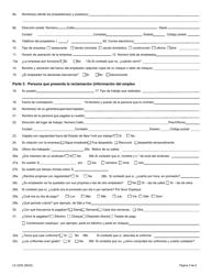 """Formulario LS223S """"Formulario De Queja Sobre Normas Laborales"""" - New York (Spanish), Page 4"""