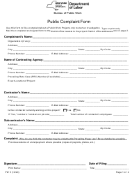 "Form PW5 ""Public Complaint Form"" - New York"
