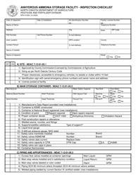 "Form SFN51230 ""Anhydrous Ammonia Storage Facility - Inspection Checklist"" - North Dakota"