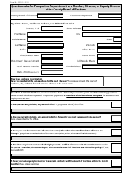 """Form 307 """"Questionnaire for Prospective Appointment as a Member, Director, or Deputy Director of the County Board of Elections"""" - Ohio"""