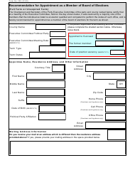 """Form 306 """"Recommendation for Appointment as a Member of Board of Elections (Full Term or Unexpired Term)"""" - Ohio"""