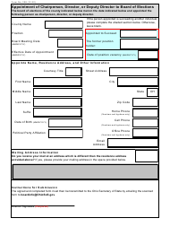 """Form 308 """"Appointment of Chairperson, Director, or Deputy Director to Board of Elections"""" - Ohio"""