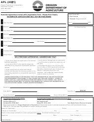 """Pesticide Apprentice License (Apl) Application Form"" - Oregon, 2021"