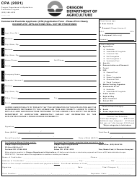 """Commercial Pesticide Applicator (CPA) Application Form"" - Oregon, 2021"