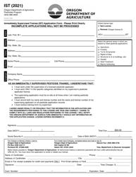"""Immediately Supervised Trainee (Ist) Application Form"" - Oregon, 2021"