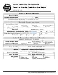 "Form MJ CS-001 ""Control Study Certification Form"" - Oregon, Page 2"