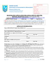 """""""Registration Application for Animal Rescue, Shelter, Broker, or Remote Sales"""" - Rhode Island"""