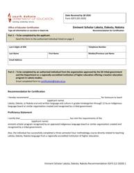 "Form SOF3 ""Eminent Scholar Lakota, Dakota, Nakota Language and Culture Recommendation for Certification"" - South Dakota"