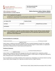"Form SOF2 ""Native American Lakota, Dakota, Nakota Recommendation for Certification"" - South Dakota"
