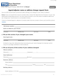 """Form FIN533 """"Agent/Adjuster Name or Address Change Request Form"""" - Texas"""