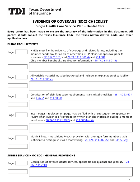 Form HMO007  Printable Pdf