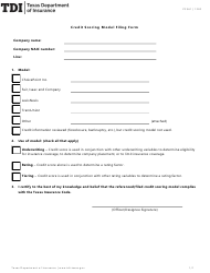 "Form PC361 ""Credit Scoring Model Filing Form"" - Texas"