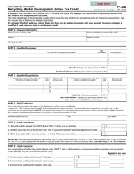 "Form TC-40R ""Recycling Market Development Zones Tax Credit"" - Utah"