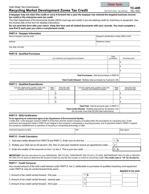 Form TC-40R Printable Pdf