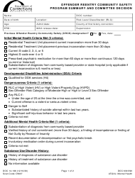 "Form DOC14-196 ""Offender Reentry Community Safety Program Summary and Committee Decision"" - Washington"