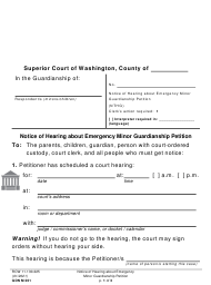 "Form GDN M201 ""Notice of Hearing About an Emergency Minor Guardianship Petition"" - Washington"