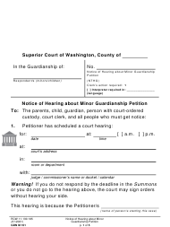 "Form GDN M101 ""Notice of Hearing About Minor Guardianship Petition"" - Washington"