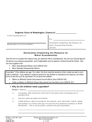 "Form GDN M103 ""Declaration Explaining Reasons for Minor Guardianship"" - Washington"
