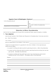 "Form GDN M301 ""Objection to Minor Guardianship"" - Washington"