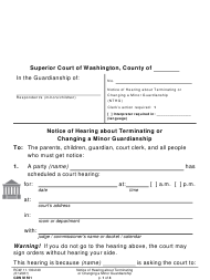 "Form GDN M501 ""Notice of Hearing About Terminating or Changing a Minor Guardianship"" - Washington"