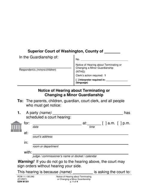 Form GDN M501  Printable Pdf