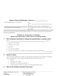 "Form GDN M502 ""Petition to Terminate or Change Minor Guardianship or Non-parent Custody Order"" - Washington"
