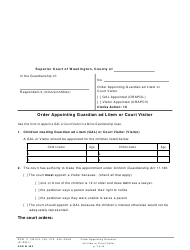 "Form GDN M409 ""Order Appointing Guardian Ad Litem or Court Visitor"" - Washington"