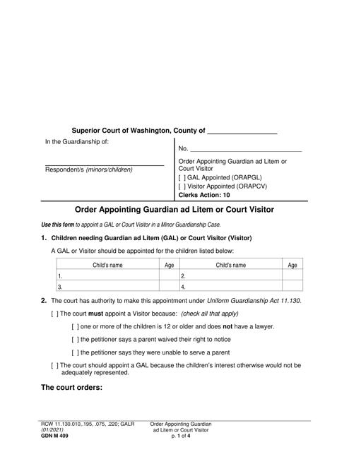 Form GDN M409  Printable Pdf