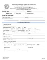"Form PCS-08 ""Personal Care Services Initial Application"" - Alaska"