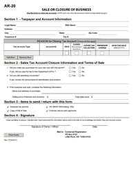 "Form AR-20 ""Sale or Closure of Business"" - Arkansas"