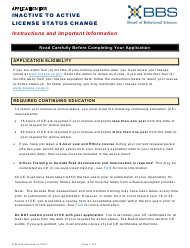 """Form 37M-406 """"Application for Inactive to Active License Status Change"""" - California"""