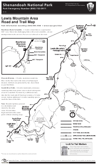 """""""Lewis Mountain Area Road and Trail Map - Shenandoah National Park"""""""