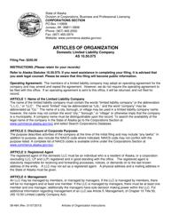 "Form 08-484 ""Articles of Organization - Domestic Limited Liability Company"" - Alaska"