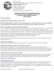 """Form 08-497 """"Certificate of Registration - Foreign Limited Liability Company"""" - Alaska"""