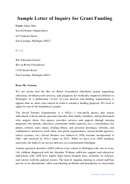 """Sample """"Letter of Inquiry for Grant Funding"""""""