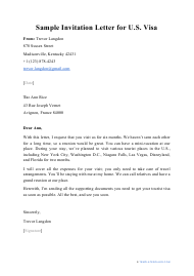 "Sample ""Invitation Letter for U.S. Visa"""