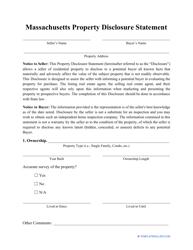 """Property Disclosure Statement Form"" - Massachusetts"