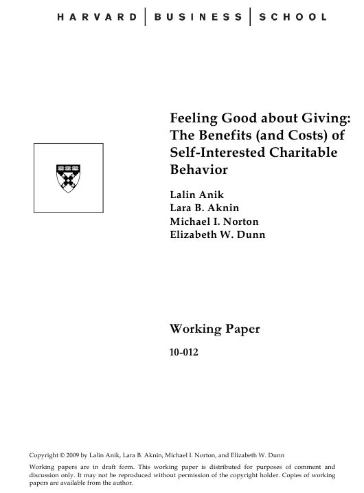 """Feeling Good About Giving: the Benefits (And Costs) of Self-interested Charitable Behavior - Harvard Business School"" Download Pdf"