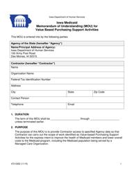 "Form 470-5362 ""Iowa Medicaid Memorandum of Understanding (Mou) for Value Based Purchasing Support Activities"" - Iowa"