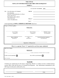 "Form A (595-1489) ""Non-law Enforcement Record Check Request"" - Iowa"