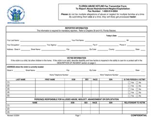 """Florida Abuse Hotline Fax Transmittal Form to Report Abuse/Abandonment/Neglect/Exploitation"" - Florida"