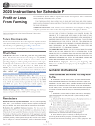"""Instructions for IRS Form 1040 Schedule F """"Profit or Loss From Farming"""", 2020"""
