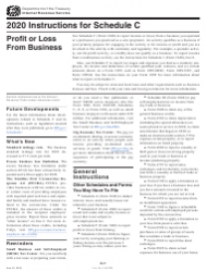 """Instructions for IRS Form 1040 Schedule C """"Profit or Loss From Business"""""""