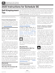 """Instructions for IRS Form 1040 Schedule SE """"Self-employment Tax"""", 2020"""