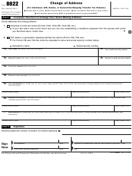 """IRS Form 8822 """"Change of Address (For Individual, Gift, Estate, or Generation-Skipping Transfer Tax Returns)"""""""