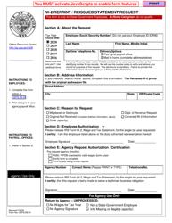 "Form OSPS.99.04 ""W-2 Reprint/Reissued Statement Request"" - Oregon"